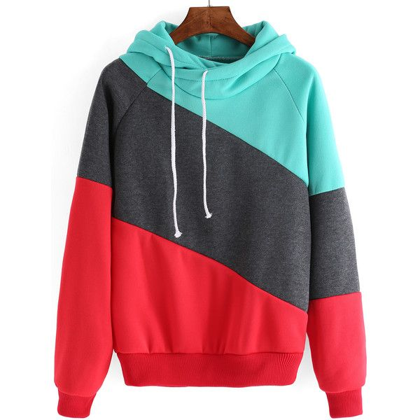 Women Hooded Drawstring Red Grey Sweatshirt ($17) ❤ liked on Polyvore featuring tops, hoodies, sweatshirts, multicolor, red hoodie, grey sweatshirt, red sweatshirt, cotton hoodie and hooded sweatshirt