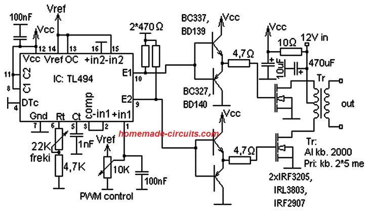 TL494 Datasheet, Pinout, Application Circuits (com imagens