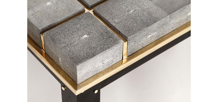 shagreen, satin brass, black iron, bespoke table by David Collins