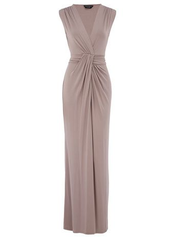 Taupe knot maxi dress