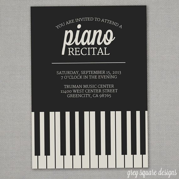 Piano Recital Invitation by greysquare on Etsy