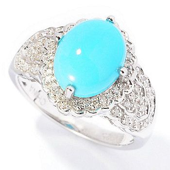 Gem Insider Sterling Silver 10 x 8mm Sleeping Beauty Turquoise & Diamond Oval Ring