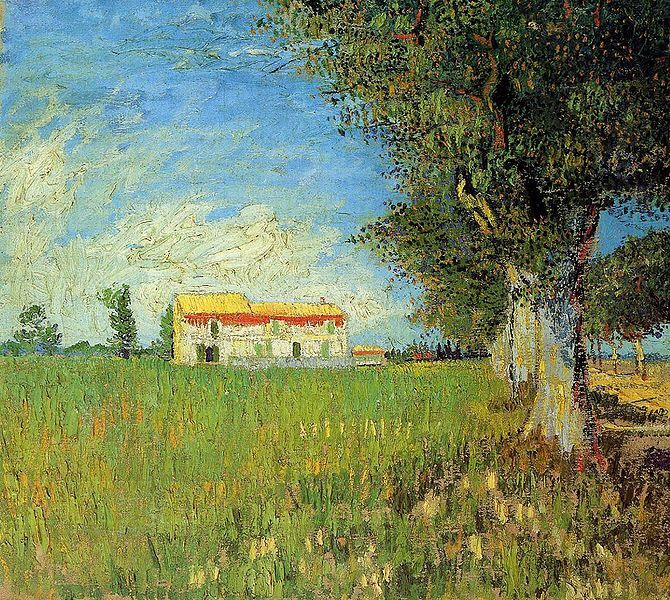 """Farmhouse in a Wheat Field, May 1888. Van Gogh described at the time """"A little town surrounded by fields completely blooming with yellow and purple flowers; you know, it is a beautiful Japanese dream."""" He used nature for inspiration, rather than abstract study from imagination. """"I am getting well acquainted with nature, I exaggerate, sometime I make change in motif; but for all that, I do not invent the whole picture; on the contrary, I find it already in nature, only it must be…"""