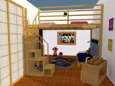Rendering 3D di un letto a soppalco Yen per la cameretta dei bambini