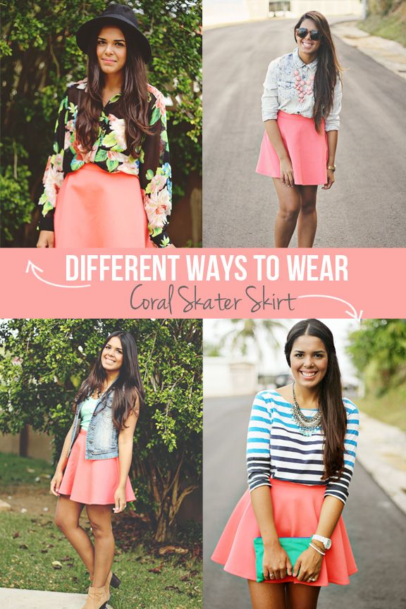 different ways to wear coral skater skirt www