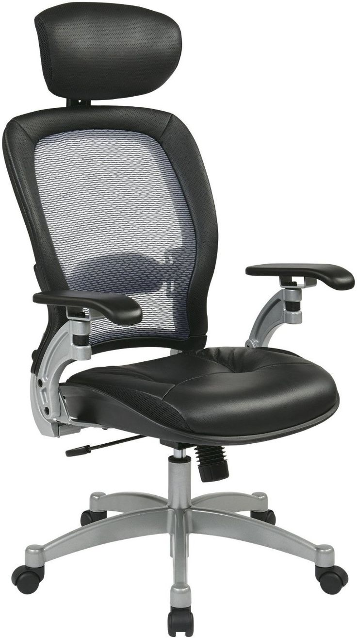 Office Star E Seating 36806 Professional Light Airgrid Back Chair With Adjule Headrest And Platinum