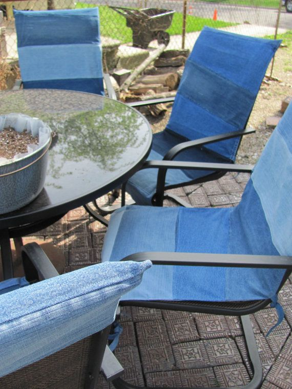 Denim Patio Chair covers / Custom fit / summer by TJPhillips991, $95.00