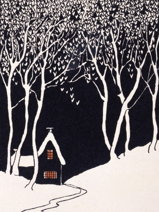 Snowed landscape with lonely house in a Christmas card(1927).