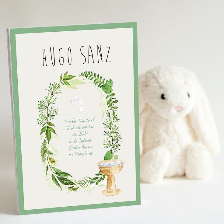Lienzo personalizado con el nombre del bebé para regalar el día de su bautizo. Regalo de madrinas y padrinos.
