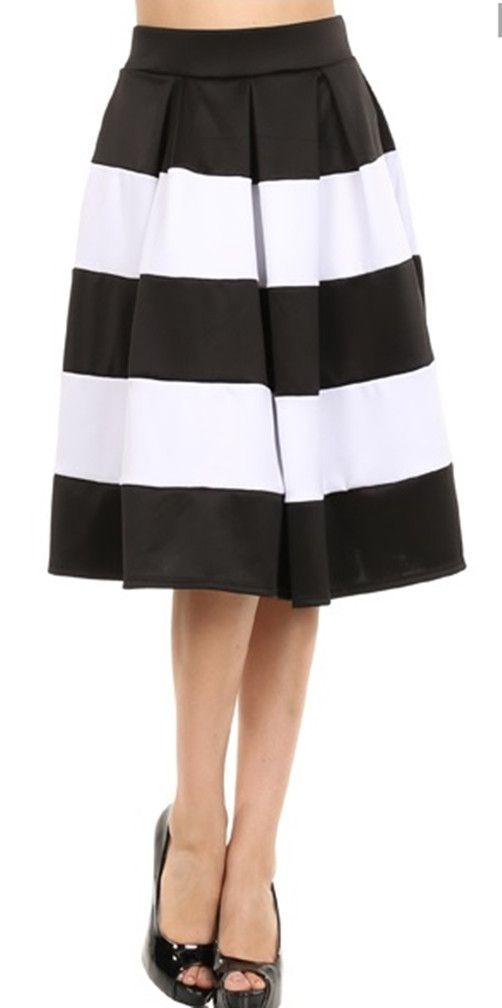 Stripe vintage pleated below knee skater skirt