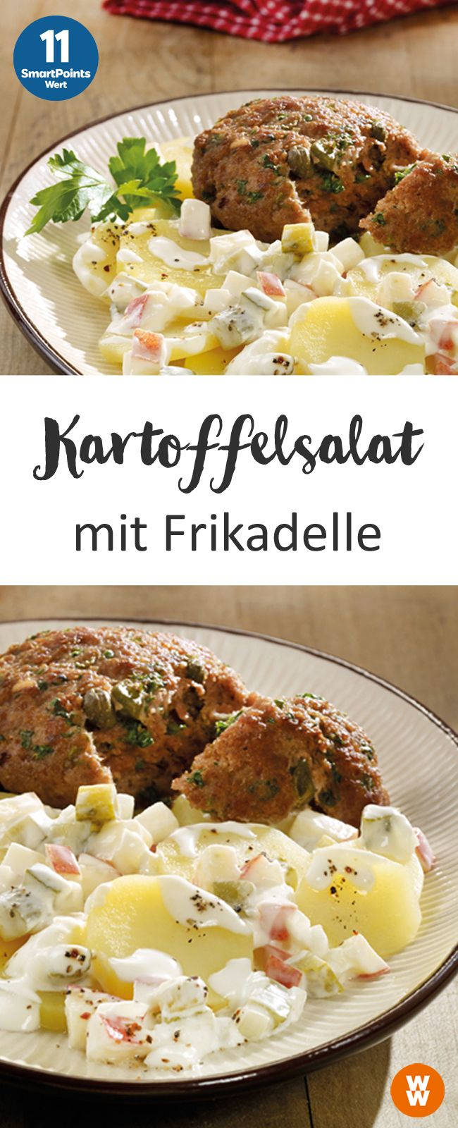 Kartoffelsalat mit Frikadellen | 4 Portionen, 11 SmartPoints/Portion, Weight Watchers, fertig in 50 min.