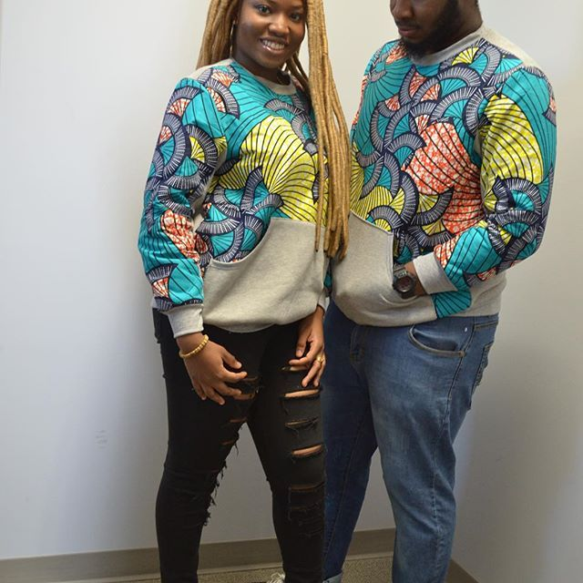 HIS AND HERS! Ankara sweatshirts. Latest African fashion, Ankara, kitenge, African women dresses, African prints, African men's fashion, Nigerian style, Ghanaian fashion, ankara sweatshirts, ankara hoodies, outfit of the day