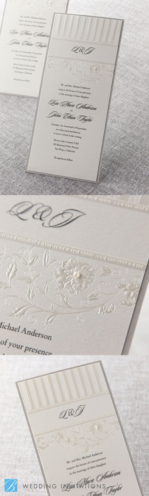 Romantic Couture With Pearls By B Wedding Invitations #wedding #invitations  #weddinginvitations #bweddinginvitations