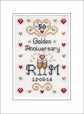 50th Golden Wedding Anniversary cross stitch card kit