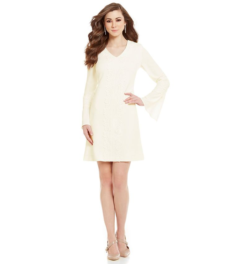 Shop for Antonio Melani Joan V-Neck Bell Sleeve Lace Trim Crepe Sheath Dress at Dillards.com. Visit Dillards.com to find clothing, accessories, shoes, cosmetics & more. The Style of Your Life.