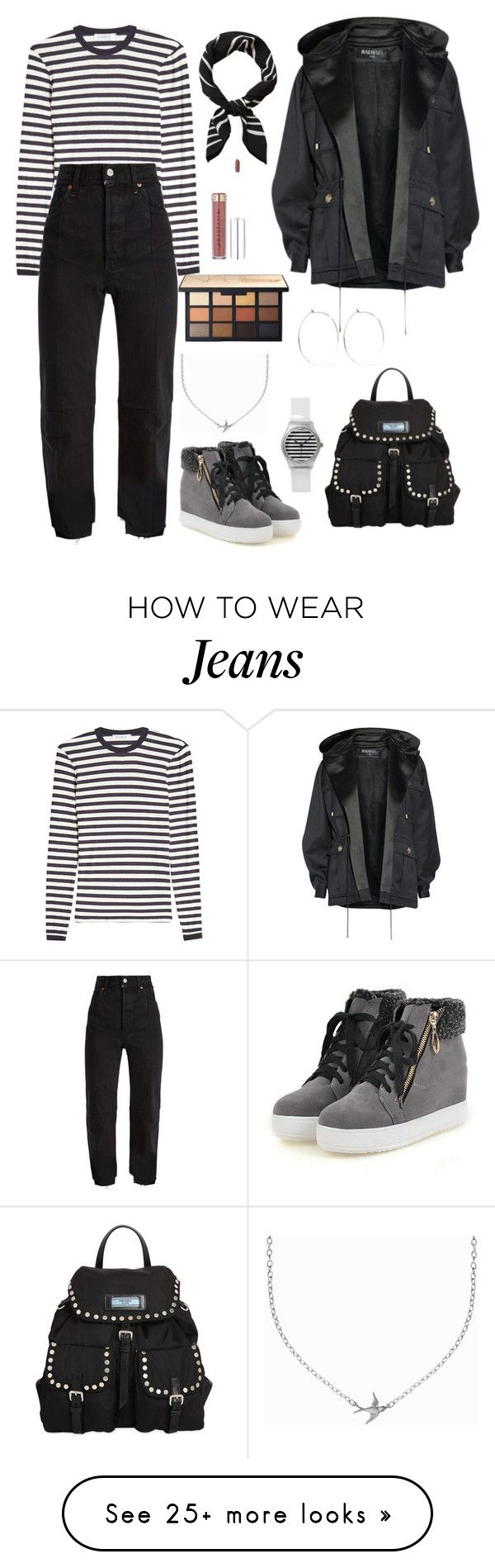 """White Sgriped Shirt & Black  Chill Jeans"" by patricia-alamattila on Polyvore featuring Prada, MaxMara, Vetements, Balmain, Catbird and Minnie Grace"