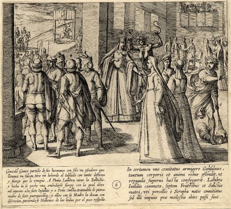 Plate 6, the Infante Gonzalo Gomez excels at the game and Doña Lambra insults the Infantes and their mother, after Otto van Veen. 1612 Etching