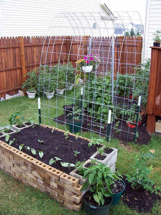 13. This cinder block plants bed is great for small gardening and easy picking for viney plants.