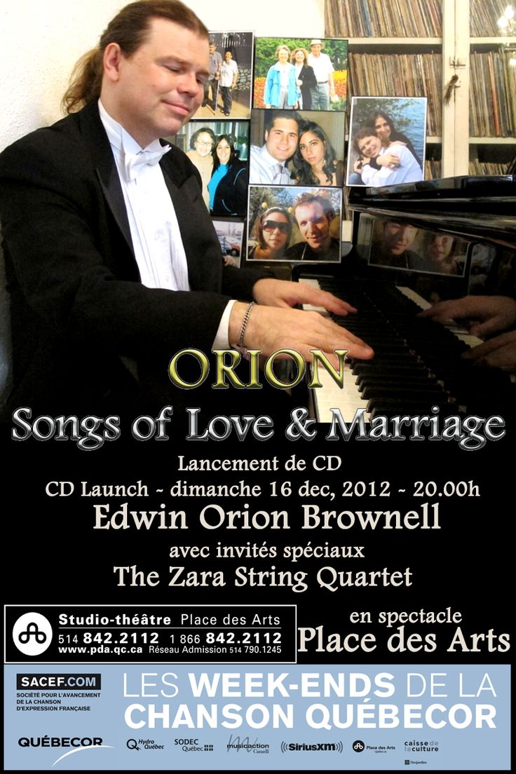 "Place des Arts Poster from the launch of my 8th album ""Songs of Love and Marriage"" in December 2012 (with the Zara String Quartet). Photo by Chris Leon, graphics by Bob Malvasio."