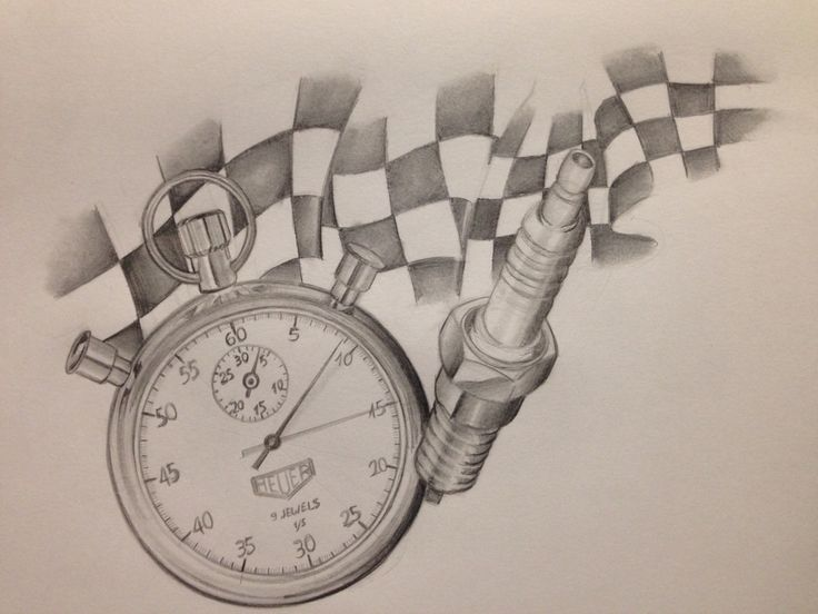 Racing flag Tattoo drawing Timer