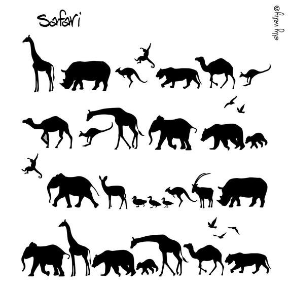safari jungle animals black