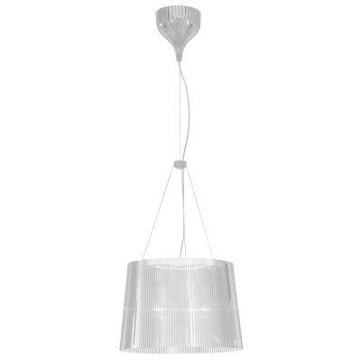 Gè pendel fra Kartell, designFerruccio Laviani.Den plisserte lampeskjermen skaper...