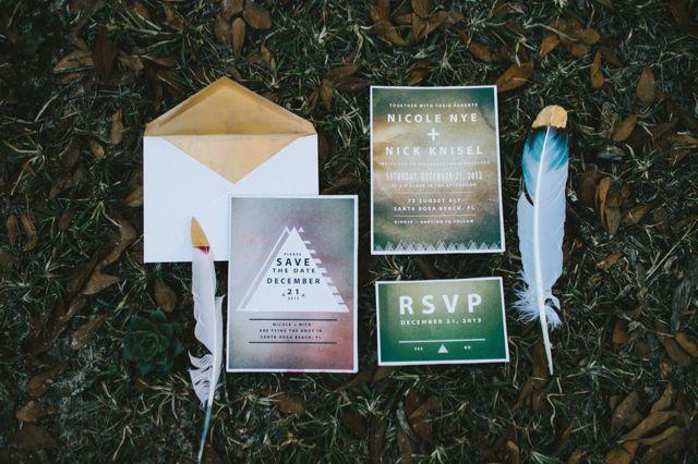 Bohemian wedding invitation suite | Hello Miss Lovely Photography | http://burnettsboards.com/2014/01/free-spirited-bohemian-diy-wedding/