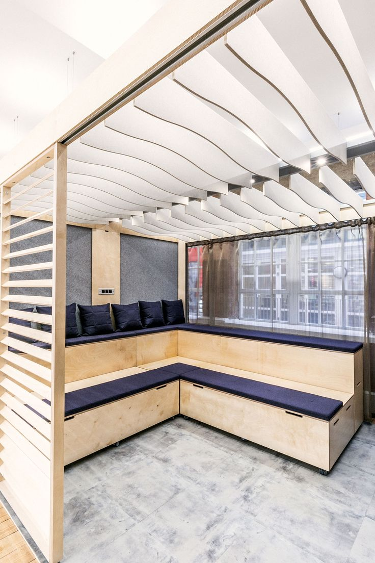 Autex Interior Acoustics - Quietspace® Frontier™ - Design: Dune - Colour: Pavilion - Connection Furniture, UK - Suspended from ceiling