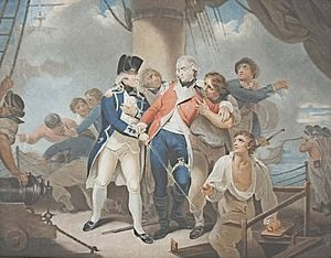 On the deck of HMS Glatton. Purchased by the navy in 1795 it was temporarily a convict transport ship.
