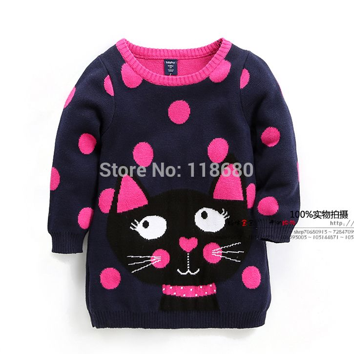 new 2015 spring kids sweater children clothing Fashion girls sweaters baby Polka Dot cat medium-long knitted sweater pullover