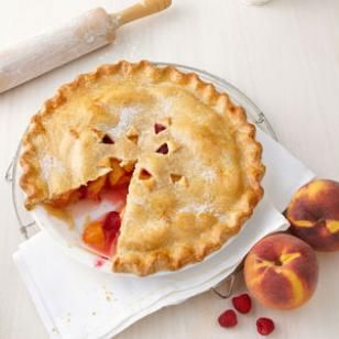 Peach-Raspberry Pie Recipe. Made this today; no need to do anything but toss filling ingredients into crust. Skip the 30 minute juice draining. Pie is beautiful and tasty!