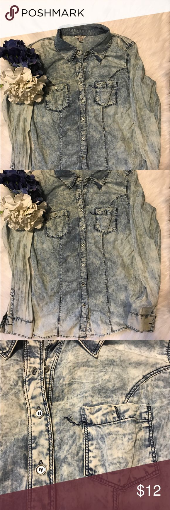 Guess Denim top Acid wash denim long sleeve top with silver buttons. Thread on front pocket is unraveling (shown in pic). Size M. Guess Tops Button Down Shirts