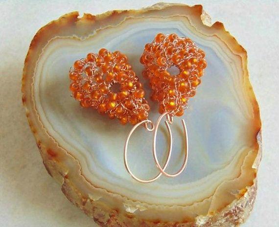 Wire crochet earrings wire crochet jewelry wire wrap by styledonna