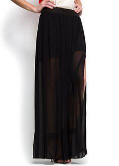 maxi falda transparente negra
