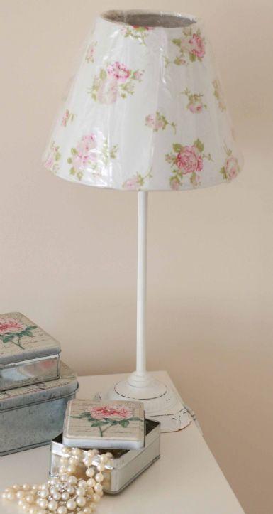 White Rose Shabby Chic Table Lamp