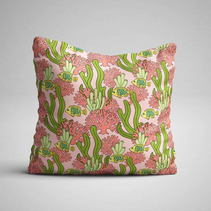 A home decor pillow mockup, using one of the patterns from Northern Whimsy's Coral Reef collection - contact us to discuss licensing!