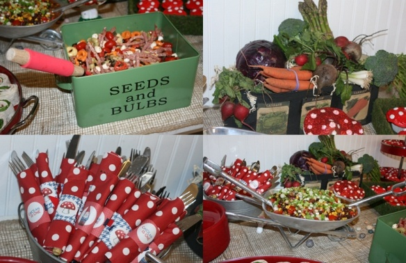 Cute food display ideas.: First Birthday Parties, Food Tables, Gardens Gnomes, Gnomes Gardens, 1St Birthday, Gnomes Parties, First Birthdays, Gardens Parties, Gnomes Party'S