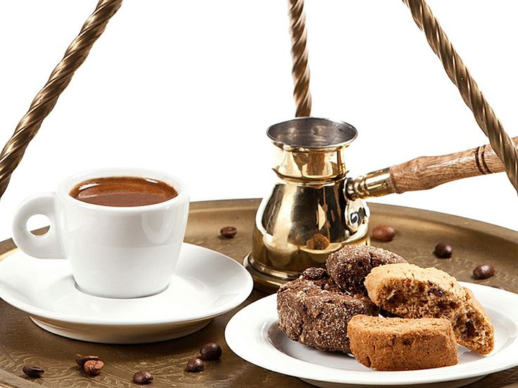 VISIT GREECE| Greek #coffee is a strong brew, served with foam on top and the grounds in the bottom of the cup. Although it can be made in a different pot, the traditional small pot is best because it allows the proper amount of foam, which adds to the unique taste.
