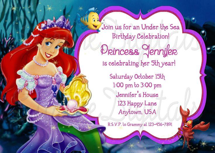 125 best Birthday Invitations images – Ariel Birthday Party Invitations