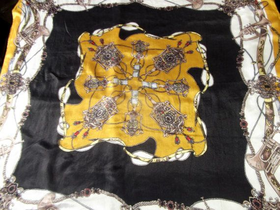 Equestrian vintage scarf chiffon silk mustard and by CHEZELVIRE, $14.00