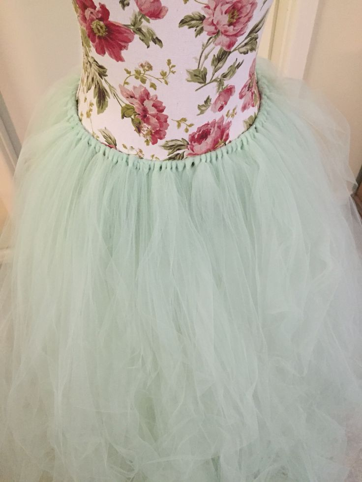 Working on a long mint tutu skirt
