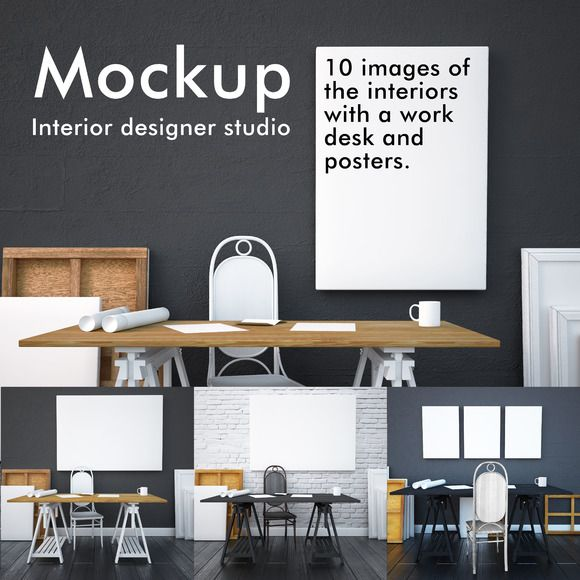 Mockup studio interior with posters by FilL239 on Creative Market