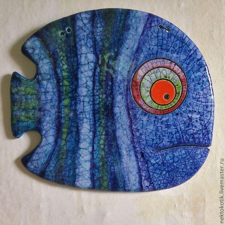 Купить Керамическое панно «Рыба» - керамика ручной работы, рыбка, рыба, глина, глазурь, шамот