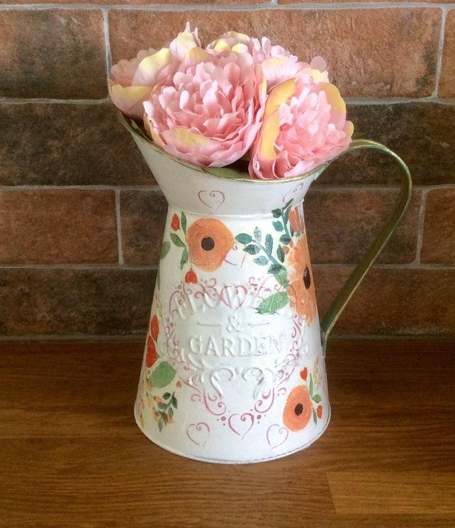 Decorative Pitcher Jug Decoupage Jug Flower Vase Home Decor
