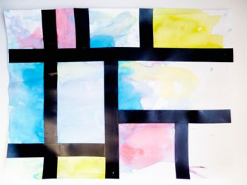 Watercolor paints and electric tape Mondrian for kids