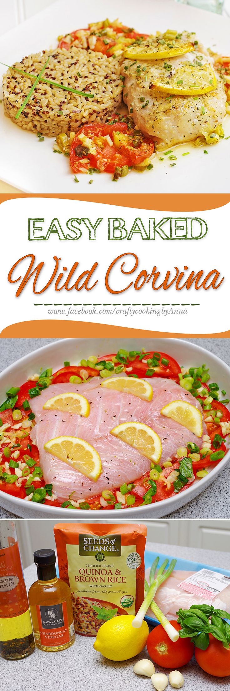 EASY Baked Wild Corvina with Tomatoes, Onions and Garlic in Wine-Vinegar sauce! #Delicious #Latin #Fancy #Dinner If you like my recipes, please Follow Me - http://www.pinterest.com/annavil/  and Join Me - https://www.facebook.com/craftycookingbyAnna Thank you!!!