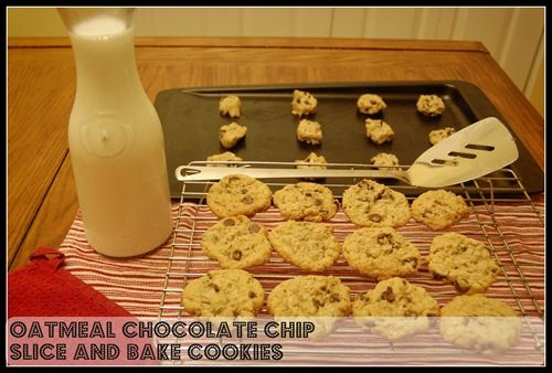 Oatmeal choc chip slice and bake cookies