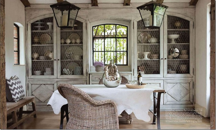 chicken wireKitchens, Dining Rooms, China Cabinets, Built In, Chicken Wire, Diningroom, French Country, Cabinets Doors