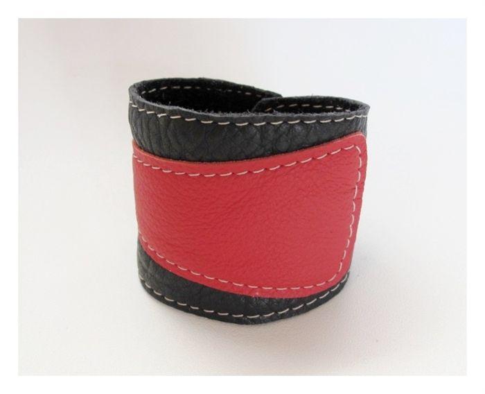 Black and Red leather cuff | Mooi Handmade | madeit.com.au