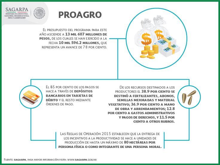 A través del PROAGRO productivo se ratifica el compromiso del Gobierno de la Republica de incentivar las inversiones en el agro, reducir la pobreza, generar más empleo, elevar la productividad agrícola, fortalecer la seguridad alimentaria y  aumentar la participación de los productos mexicanos en el mercado nacional. SAGARPA SAGARPAMX
